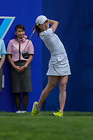 Jennifer Song watches her tee shot off the 1st tee during Round 3 at the ANA Inspiration, Mission Hills Country Club, Rancho Mirage, Calafornia, USA. {03/31/2018}.<br />