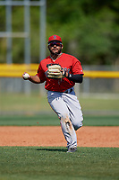 Boston Red Sox Jonathan Ortega (11) throws to first base during a Minor League Spring Training game against the Tampa Bay Rays on March 25, 2019 at the Charlotte County Sports Complex in Port Charlotte, Florida.  (Mike Janes/Four Seam Images)