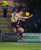 2nd December 2017, Global Energy Stadium, Dingwall, Scotland; Scottish Premiership football, Ross County versus Dundee; Dundee's Mark O'Hara outjumps Ross County's Craig Curran