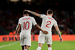 England's Kieran Trippier (R) and Raheem Sterling (L) celebrate goal during UEFA Nations League 2019 match between Spain and England at Benito Villamarin stadium in Sevilla, Spain. October 15, 2018. (ALTERPHOTOS/A. Perez Meca)