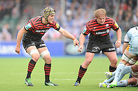 20130512 Copyright onEdition 2013©.Free for editorial use image, please credit: onEdition..Kelly Brown (left) and Rhys Gill of Saracens during the Premiership Rugby semi final match between Saracens and Northampton Saints at Allianz Park on Sunday 12th May 2013 (Photo by Rob Munro)..For press contacts contact: Sam Feasey at brandRapport on M: +44 (0)7717 757114 E: SFeasey@brand-rapport.com..If you require a higher resolution image or you have any other onEdition photographic enquiries, please contact onEdition on 0845 900 2 900 or email info@onEdition.com.This image is copyright onEdition 2013©..This image has been supplied by onEdition and must be credited onEdition. The author is asserting his full Moral rights in relation to the publication of this image. Rights for onward transmission of any image or file is not granted or implied. Changing or deleting Copyright information is illegal as specified in the Copyright, Design and Patents Act 1988. If you are in any way unsure of your right to publish this image please contact onEdition on 0845 900 2 900 or email info@onEdition.com