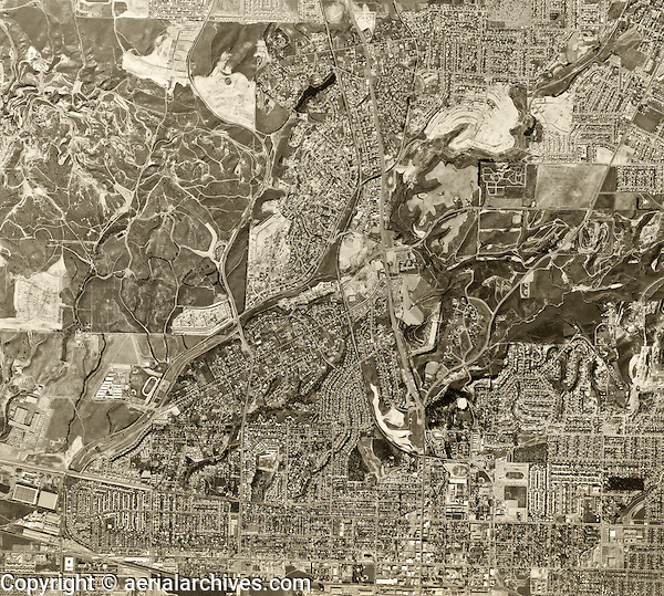 historical aerial photograph Fullerton, Los Angeles county, California, 1963