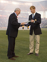 Glasgow Rangers FC Manager Walter Smith (L) and LA Galaxy Manger Alexi Lalas (R). The Glasgow Rangers FC beat the LA Galaxy 1-0 in an International friendly match played at the Home Depot Center in Carson, California, Wednesday, May 23, 2007.