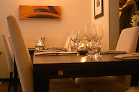 Table set with napkins wine glasses and forks at the trendy restaurant Beluga on Ostermalm Stockholm, Sweden, Sverige, Europe