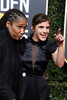 Marai Larasi and Emma Watson attend the 75th Annual Golden Globes Awards at the Beverly Hilton in Beverly Hills, CA on Sunday, January 7, 2018.<br /> *Editorial Use Only*<br /> CAP/PLF/HFPA<br /> &copy;HFPA/PLF/Capital Pictures