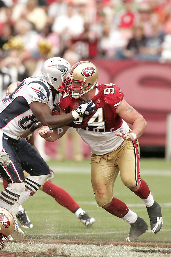 JUSTIN SMITH, of the San Francisco 49ers  in action against the New England Patriots during the 49ers game in San Francisco, California on October 30, 2008..Patrioits win 30-21