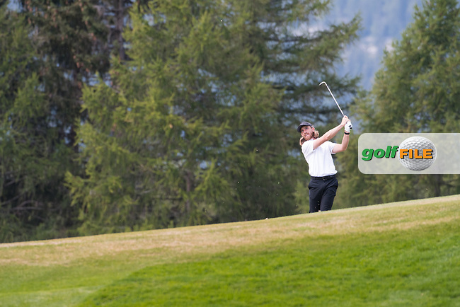 Tommy Fleetwood (ENG) in action on the 12th hole during final round at the Omega European Masters, Golf Club Crans-sur-Sierre, Crans-Montana, Valais, Switzerland. 01/09/19.<br /> Picture Stefano DiMaria / Golffile.ie<br /> <br /> All photo usage must carry mandatory copyright credit (© Golffile | Stefano DiMaria)