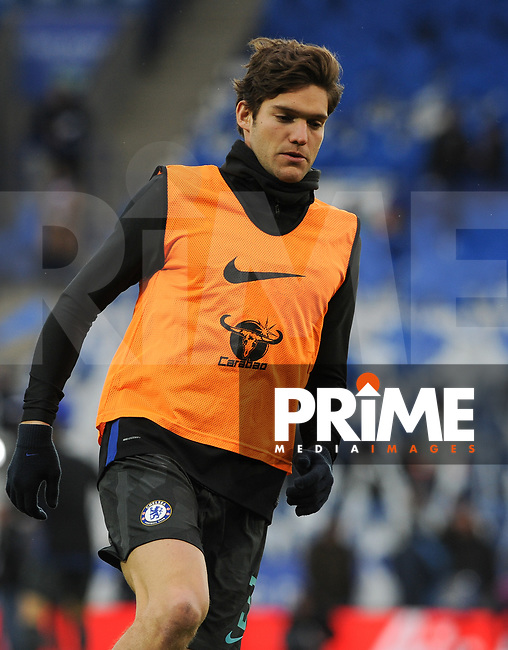Marcos Alonso of Chelsea pre match during the FA Cup QF match between Leicester City and Chelsea at the King Power Stadium, Leicester, England on 18 March 2018. Photo by Stephen Buckley / PRiME Media Images.