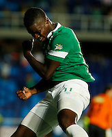 CALI -COLOMBIA-20-11-2014. Carlos Rivas (Izq) jugador del Deportivo Cali celbra un gola anotado a Aguilas Pereira durante partido por la fecha 2 de los cuadrangulares finales de la Liga Postobón II 2014 jugado en el estadio Pascual Guerrero de la ciudad de Cali./ Deportivo Cali player Carlos Rivas (L) celebrates a goal scored to Aguilas Pereira during match for the second date of the final quadrangular of the Postobon League II 2014 played at Pascual Guerrero stadium in  Cali city.Photo: VizzorImage/ Juan C. Quintero /STR