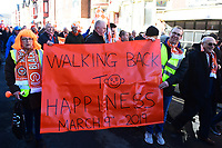 Blackpool fans march to Bloomfield Road<br /> <br /> Photographer Richard Martin-Roberts/CameraSport<br /> <br /> The EFL Sky Bet League One - Blackpool v Southend United - Saturday 9th March 2019 - Bloomfield Road - Blackpool<br /> <br /> World Copyright © 2019 CameraSport. All rights reserved. 43 Linden Ave. Countesthorpe. Leicester. England. LE8 5PG - Tel: +44 (0) 116 277 4147 - admin@camerasport.com - www.camerasport.com