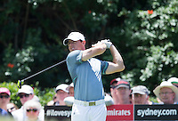 Rory McIlroy in action during his second round at the Emirates Australian Open Golf