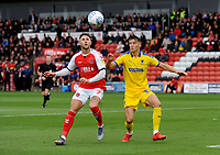 Fleetwood Town's Wes Burns vies for possession with AFC Wimbledon's Callum Reilly<br /> <br /> Photographer Kevin Barnes/CameraSport<br /> <br /> The EFL Sky Bet Championship - Fleetwood Town v AFC Wimbledon - Saturday 10th August 2019 - Highbury Stadium - Fleetwood<br /> <br /> World Copyright © 2019 CameraSport. All rights reserved. 43 Linden Ave. Countesthorpe. Leicester. England. LE8 5PG - Tel: +44 (0) 116 277 4147 - admin@camerasport.com - www.camerasport.com