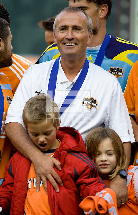 Houston Dynamo head coach Dominic Kinnear. The Houston Dynamo defeated the New England Revolution 2-1 in the finals of the MLS Cup at RFK Memorial Stadium in Washington, D. C., on November 18, 2007.