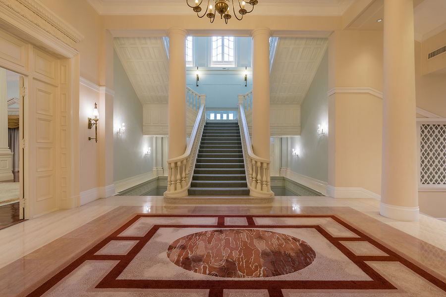 The main staircase, to the right of the Ballroom entrance.