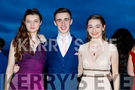 Caoimhe Moore, Sean Hennessy and Stephanie Keane, (Mercy Mounthawk Secondary School, Tralee), enjoying the TY Ball at Ballyroe Heights Hotel, Tralee, on Saturday night last.