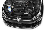 Car Stock 2014 Volkswagen Golf R 5 Door Hatchback 4WD Engine high angle detail view