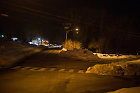 A fork in the road stands at the intersection of Horsebarn Hill Road (left) and Gurleyville Road (right) near the site where Bruce Alan Ursin attempted to abduct and rape a young woman in 2012. The fork is at the edge of the University of Connecticut campus in Storrs, Connecticut, USA. Horsebarn Hill Road has a number of agricultural education facilities along it.