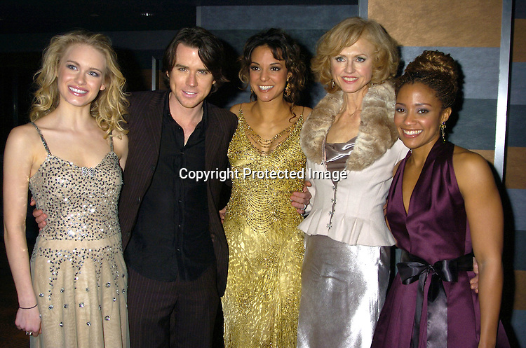 Leven Rambin, Christian Campbell, Eva La Rue and Jill Larson and Tanisha Lynn ..at the Rainbow Room at the celebration for All My Childrens's 35th Anniversary after a show at Town Hall benefitting Broadway Cares Equity Fights Aids on February 7, 2005. ..Photo by Robin Platzer, Twin Images