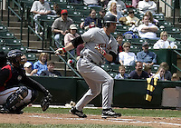 May 16, 2004:  Jeff Liefer of the Indianapolis Indians, Triple-A International League affiliate of the Milwaukee Brewers, during a game at Frontier Field in Rochester, NY.  Photo by:  Mike Janes/Four Seam Images
