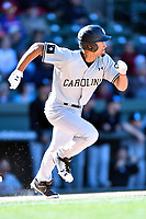 South Carolina Gamecocks designated hitter Noah Campbell (2) runs to first base during a game against the Clemson Tigers at Fluor Field on March 3, 2018 in Greenville, South Carolina. The Tigers defeated the Gamecocks 5-1. (Tony Farlow/Four Seam Images)