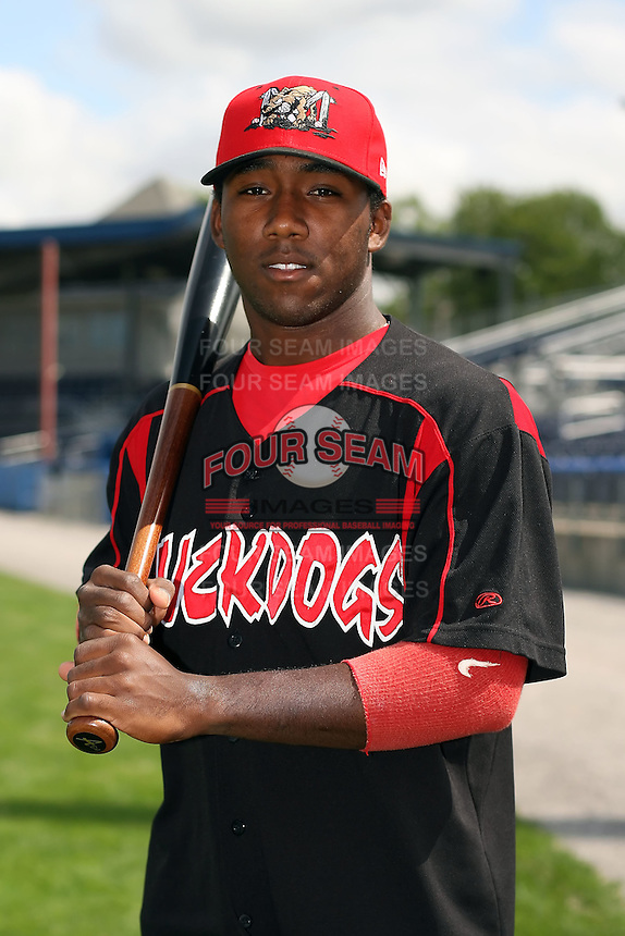 August 26 2008:  Catcher Ismael Cardona of the Batavia Muckdogs, Class-A affiliate of the St. Louis Cardinals, during a game at Dwyer Stadium in Batavia, NY.  Photo by:  Mike Janes/Four Seam Images