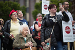 © Joel Goodman - 07973 332324 . 14/08/2016 . Manchester , UK . A memorial on the site of The Peterloo Massacre ( formerly St Peter's Field , now the Manchester Central Convention Centre ) , attended by Maxine Peake and Paul Mason . On 16th August 1819 , a rally calling for Parliamentary reform , improved workers rights and against poverty was brutally suppressed by sabre-wielding cavalrymen , resulting in the deaths of fifteen people and many hundreds injured . Photo credit : Joel Goodman