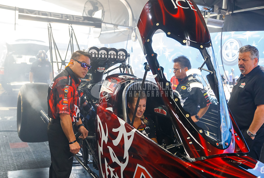 Jun 10, 2017; Englishtown , NJ, USA; Crew members for NHRA top fuel driver Leah Pritchett during qualifying for the Summernationals at Old Bridge Township Raceway Park. Mandatory Credit: Mark J. Rebilas-USA TODAY Sports