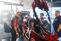 Jun 10, 2017; Englishtown , NJ, USA; Crew members for NHRA top fuel driver Leah Pritchett during qualifying for the Summernationals at Old Bridge Township Raceway Park. Mandatory Credit: Mark J. Rebilas-USA TODAY Sports