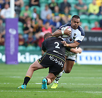 Clermont Auvergne's Isaia Toeava is tackled by Northampton Saints's Dylan Hartley<br /> <br /> Photographer Stephen White/CameraSport<br /> <br /> European Rugby Challenge Cup - Northampton Saints v Clermont Auvergne - Saturday 13th October 2018 - Franklin's Gardens - Northampton<br /> <br /> World Copyright © 2018 CameraSport. All rights reserved. 43 Linden Ave. Countesthorpe. Leicester. England. LE8 5PG - Tel: +44 (0) 116 277 4147 - admin@camerasport.com - www.camerasport.com