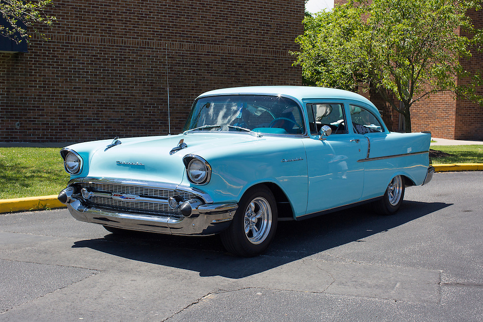 1957 Cruiser Class (#48C) – 1957 Chevrolet 150 2-Door Sedan registered to James O'Neil is pictured during 4th State Representative Chevy Show on Thursday, June 30, 2016, in Fort Wayne, Indiana. (Photo by James Brosher)