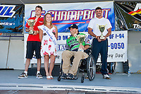 8-10 August 2008  Algonac, MI USA.The F3 podium (L to R): Dan Orchard (2nd), trophy girl, Wyatt Nelson accepting for son Jason (1st) and Mike Beagle (3rd)..©F.Peirce Williams 2008