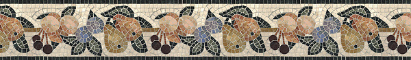 "6"" Orchard border, a hand-cut stone mosaic, shown in polished Botticino, Verde Luna, Spring Green, Verde Alpi, Red Lake, Blue Bahia, Blue Macauba, Lavender Mist, Breccia Oniciata, Breccia Pernice, Red Travertine, Giallo Reale, Renaissnace Bronze, and Rosa Verona."