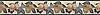"""6"""" Orchard border, a hand-cut stone mosaic, shown in polished Botticino, Verde Luna, Spring Green, Verde Alpi, Red Lake, Blue Bahia, Blue Macauba, Lavender Mist, Breccia Oniciata, Breccia Pernice, Red Travertine, Giallo Reale, Renaissnace Bronze, and Rosa Verona."""