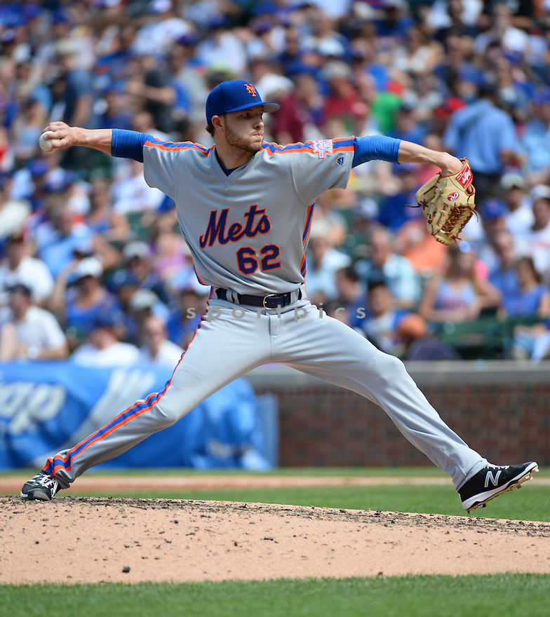 New York Mets Erik Goeddel (62) during a game against the Chicago Cubs on July 20, 2016 at Wrigley Field in Chicago, IL. The Cubs beat the Mets 6-2.