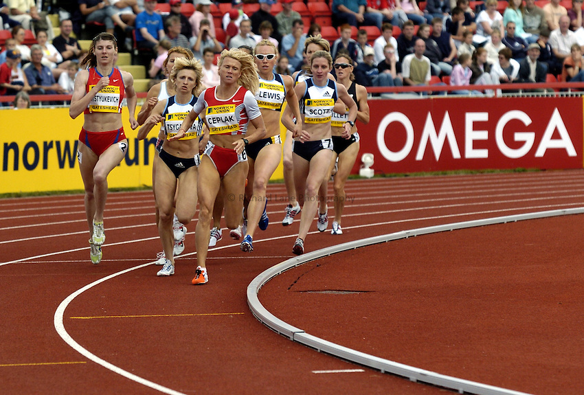 Photo. Richard Lane..Norwich Union British Grand Prix at Gateshead International. 27/06/2004..Jolanda Ceplak leads the womens 800m.