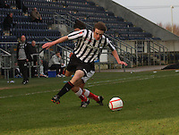 Kieran Doran fouled by Conor Hogg at the Falkirk v St Mirren  Scottish Football Association Youth Cup 4th Round match played at the Falkirk Stadium, Falkirk on 16.12.12.