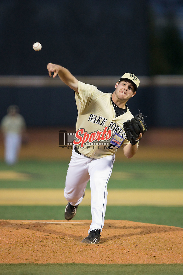 Wake Forest Demon Deacons relief pitcher Parker Johnson (27) delivers a pitch to the plate against the UConn Huskies at Wake Forest Baseball Park on March 17, 2015 in Winston-Salem, North Carolina.  The Demon Deacons defeated the Huskies 6-2.  (Brian Westerholt/Sports On Film)