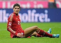 FUSSBALL   1. BUNDESLIGA  SAISON 2011/2012   23. Spieltag  26.02.2012 FC Bayern Muenchen - FC Schalke 04        Christoph Metzelder (FC Schalke 04) am Boden