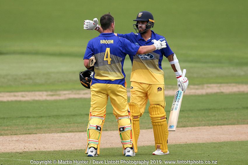 Otago's Neil Broom celebrates his century during the Wellington Firebirds v Otago Volts, Ford Trophy One Day match round five at Bert Sutcliffe Oval in Lincoln, New Zealand on Friday, 29 November 2019. Photo: Martin Hunter / lintottphoto.co.nz