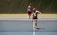 STANFORD, CA -- May 12, 2012: Bradley Klahn and John Morrissey during  the Stanford vs. Sacramento State match in the first round of NCAA Championships Saturday afternoon at the Taube Family Tennis Stadium.<br /> <br /> Stanford defeat Sacramento State 4-0.