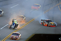 Nov. 1, 2009; Talladega, AL, USA; NASCAR Sprint Cup Series driver Mark Martin (5) flips over as Martin Truex Jr (1) crashes during the Amp Energy 500 at the Talladega Superspeedway. Mandatory Credit: Mark J. Rebilas-