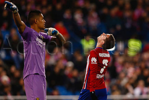 21.02.2016. Madrid, Spain.  Antonie Griezmann (7) Atletico de Madrid frustrated at the La Liga football match between Atletico de Madrid and Villerreal CF at the Vicente Calderon stadium in Madrid, Spain, February 21, 2016 .