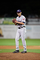Mahoning Valley Scrappers relief pitcher Riley Echols (35) gets ready to deliver a pitch during a game against the Batavia Muckdogs on August 16, 2017 at Dwyer Stadium in Batavia, New York.  Batavia defeated Mahoning Valley 10-6.  (Mike Janes/Four Seam Images)