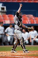 Lehigh Mountain Hawks catcher Jeff Shanfeldt (23) during a game against the Dartmouth Big Green on March 20, 2016 at Chain of Lakes Stadium in Winter Haven, Florida.  Dartmouth defeated Lehigh 5-4.  (Mike Janes/Four Seam Images)