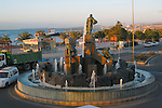 Statues and fountains  at roundabout next to Puerto del Roario harbour, Fuerteventura,Canary Islands, Spain.