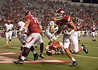 Hawgs Illustrated/BEN GOFF <br /> Cheyenne O'Grady (85), Arkansas tight end, runs in a touchdown against Florida A&M in the 4th quarter, Thursday, Aug. 31, 2017, during the game at War Memorial Stadium in Little Rock.