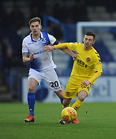 Bristol Rovers' Gavin Reilly under pressure from Fleetwood Town's Jason Holt<br /> <br /> Photographer Kevin Barnes/CameraSport<br /> <br /> The EFL Sky Bet League One - Bristol Rovers v Fleetwood Town - Saturday 22nd December 2018 - Memorial Stadium - Bristol<br /> <br /> World Copyright &copy; 2018 CameraSport. All rights reserved. 43 Linden Ave. Countesthorpe. Leicester. England. LE8 5PG - Tel: +44 (0) 116 277 4147 - admin@camerasport.com - www.camerasport.com