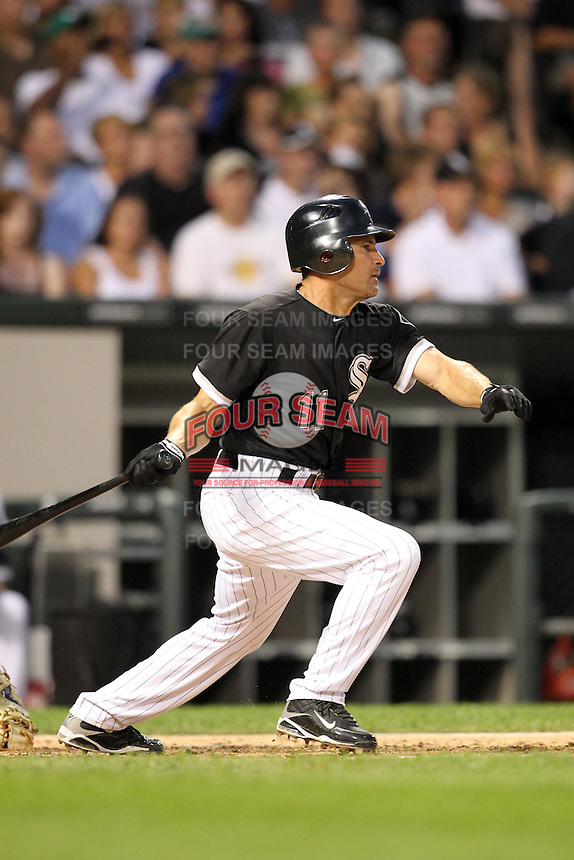Chicago White Sox infielder Omar Vizquel (11) during a game vs. the Detroit Tigers at U.S. Cellular Field in Chicago, Illinois August 13, 2010.   Chicago defeated Detroit 8-4.  Photo By Mike Janes/Four Seam Images