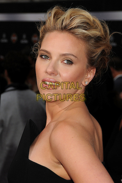 "Scarlett Johansson.""Marvel's The Avengers"" World Premiere held at the El Capitan Theatre, Hollywood, California, USA..April 11th, 2012.headshot portrait black strapless side.CAP/ADM/BP.©Byron Purvis/AdMedia/Capital Pictures."