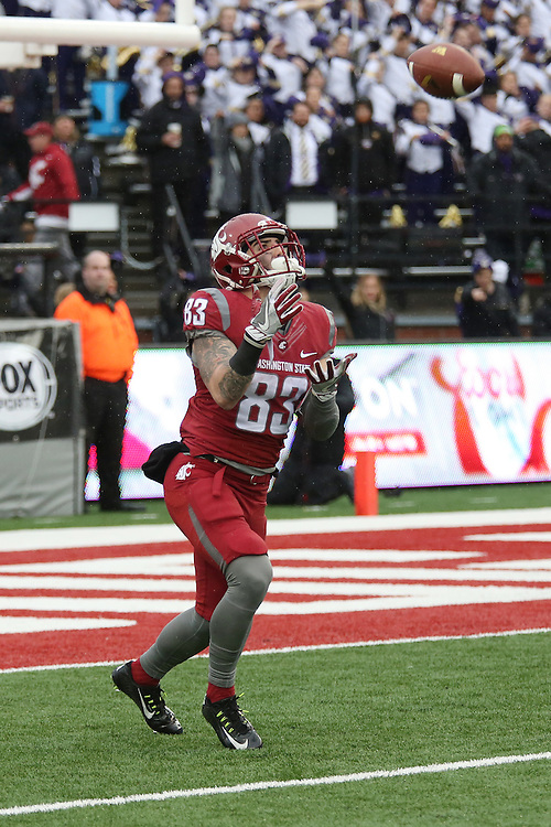 Kaleb Fossum, Washington State wide receiver and kick returner, prepares to catch the opening kickoff during the Cougars annual Apple Cup battle with rival Washington at Martin Stadium in Pullman, Washington, on November 25, 2016.